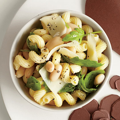 Cavatappi with Arugula and Cannellini Beans