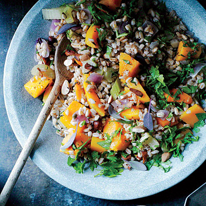 Farro Stuffing with Butternut Squash, Red Onion, and Almonds
