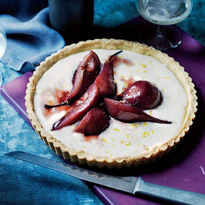 Port-Glazed Pear Tart with Rosemary-Cornmeal Crust