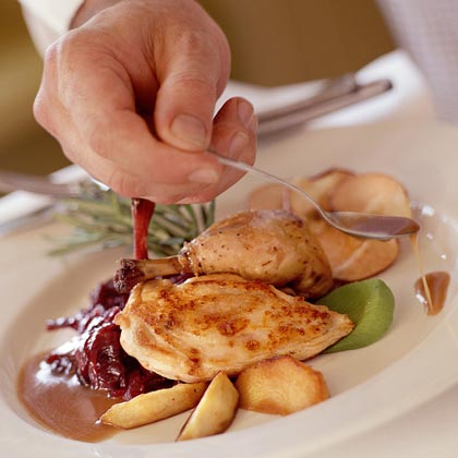 Roasted Hens with Red Cabbage-Apple Compote