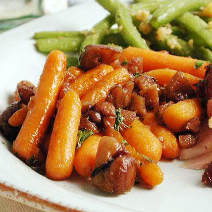 Glazed Carrots with Candied Chestnuts