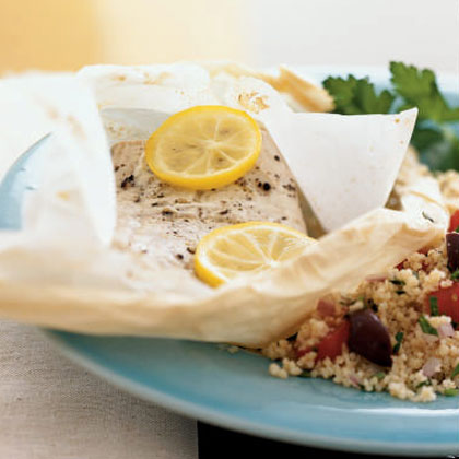 Mediterranean Mahimahi in Parchment with Couscous
