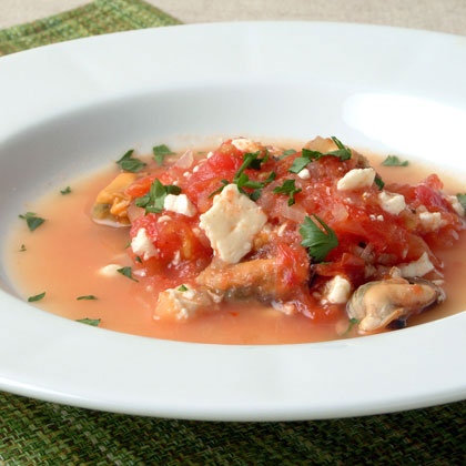 Stewed Mussels with Feta