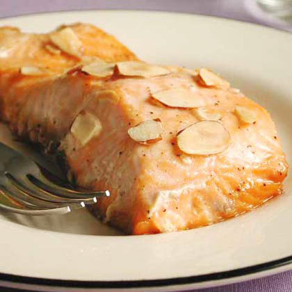 Salmon with Maple Syrup and Toasted Almonds