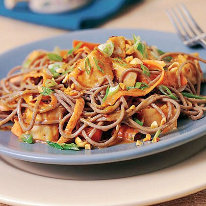 Spicy Soba Noodles with Chicken in Peanut Sauce