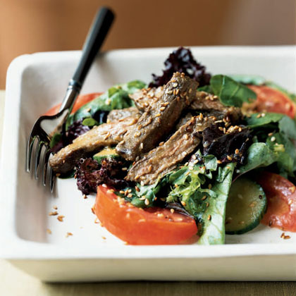 Grilled Skirt Steak and Mesclun Salad with Miso Dressing