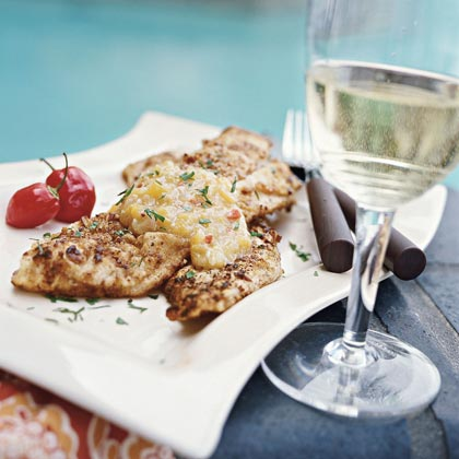 Pecan-crusted Trout with Peach-Habanero Chile Sauce
