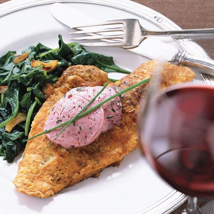 Sautéed Snapper on Wilted Spinach with Mulled Zinfandel Butter