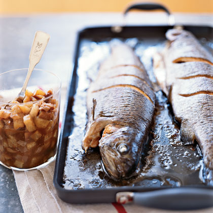 Whole Roasted Trout with Asian Pear–Fig Chutney
