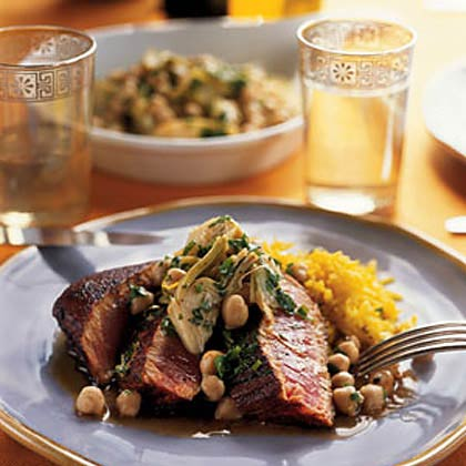 Seared Pimentón-Crusted Tuna with Chickpea Artichoke Salad