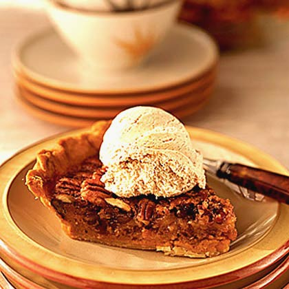 Sweet Potato Pecan Pie with Cinnamon Ice Cream