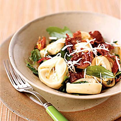 Mushroom Tortellini with Arugula and Crispy Prosciutto