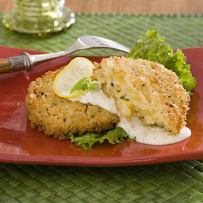 Panko-Crusted Rice Cakes With Lemon-Basil Sauce