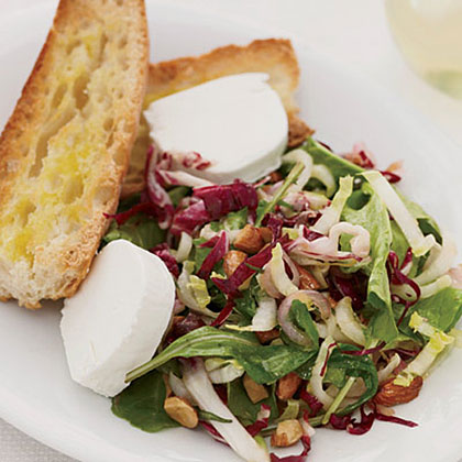 Bitter Greens with Almonds and Goat Cheese