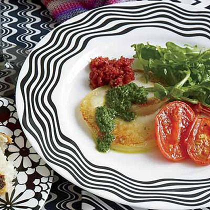Pan-Fried Scamorza with Arugula Salad and Two Pestos