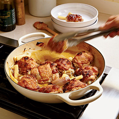 Chardonnay-Braised Chicken Thighs with Parsnips