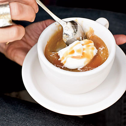 Butterscotch Pots de Crème with Caramel Sauce