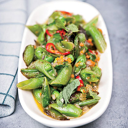 Sugar Snap Peas with Soffrito, Hot Pepper and Mint