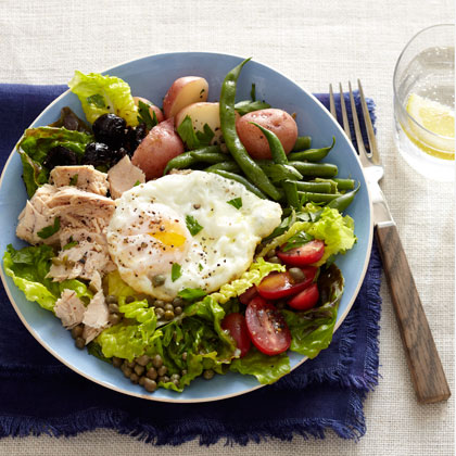 Tuna Nicoise Salad with Roasted Green Beans and Potatoes