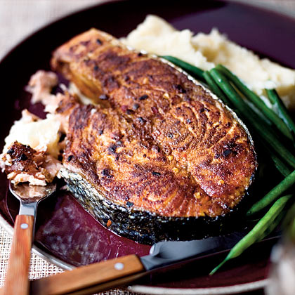 Spice-Rubbed Salmon Steaks With Mashed Potatoes