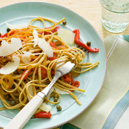 Whole-Wheat Linguine with Saffron and Roasted Red Peppers