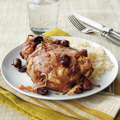 Turkey Thighs with Olives, Dried Cherries, and Chiles
