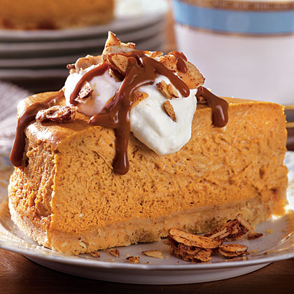 Dulce de Leche–Pumpkin Cheesecake with Candied Almonds