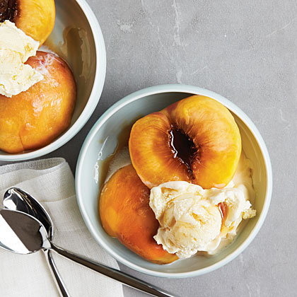 Bourbon-Steamed Peaches