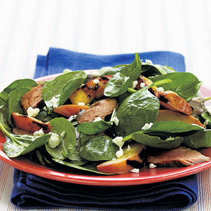 Spinach Salad with Grilled Pork Tenderloin and Nectarines