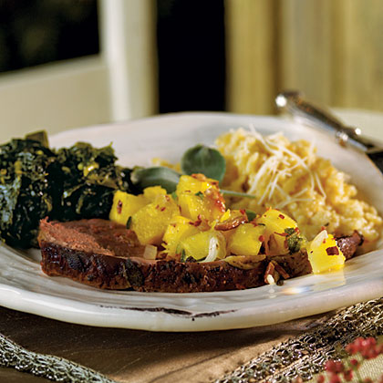 Sage-Crusted Leg of Lamb with Pineapple-Pecan Salsa