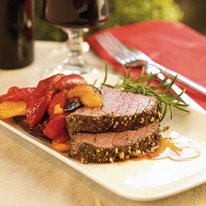 Rosemary Beef Tenderloin with Balsamic Peppers