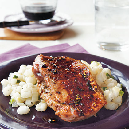 Grilled Plum and Prosciutto-Stuffed Pork Chops
