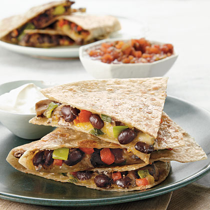 Portobello and Black Bean Quesadillas