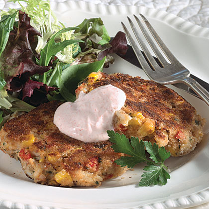 Louisiana Deviled Crab Cakes With Hot Peppered Sour Cream