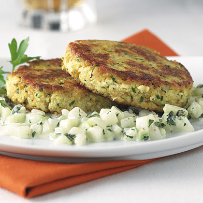 Tofu And Chickpea Patties With Cucumber Mint Relish