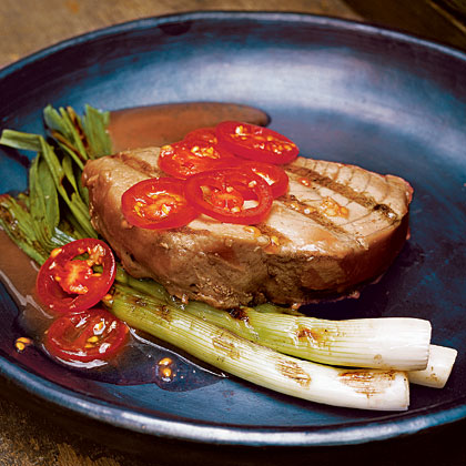 Tuna Steaks with Grilled Scallions and Tomatoes