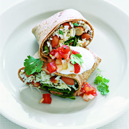Red Bean and Spinach Burritos