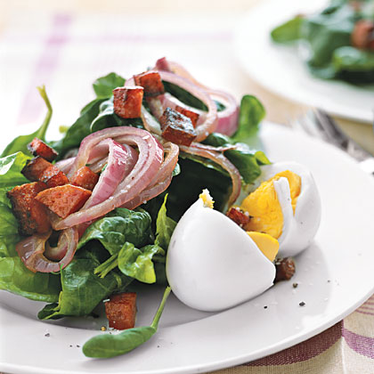 Spinach Salad with Hot Salami Cubes
