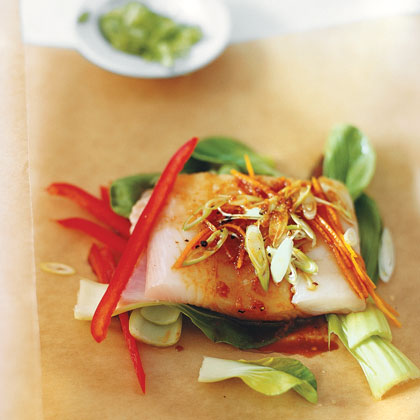 Asian Style Halibut In Parchment