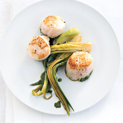 Seared Scallops with Leek Ribbons