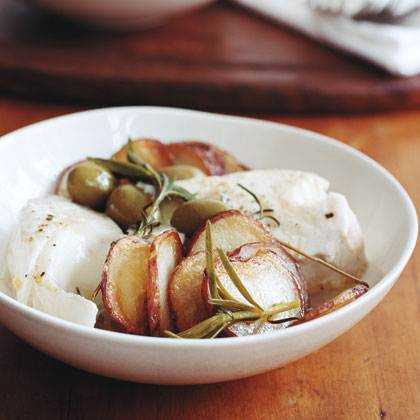 Halibut with Skillet Potatoes