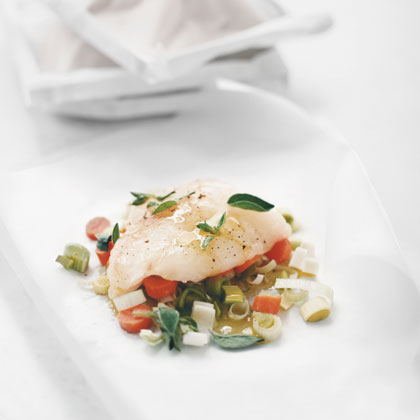 Halibut with Carrots and Leeks