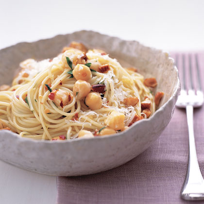 Chickpea Pasta with Almonds and Parmesan