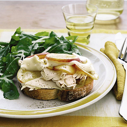 Open-Face Turkey, Brie, and Nectarine Sandwiches with Arugala Salad