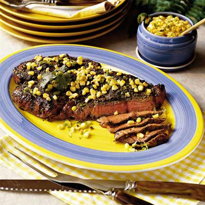 Cilantro-Garlic Sirloin with Zesty Corn Salsa