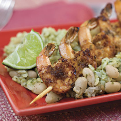 Chili-and-Lime Grilled Shrimp With Seasoned White Beans and Rice