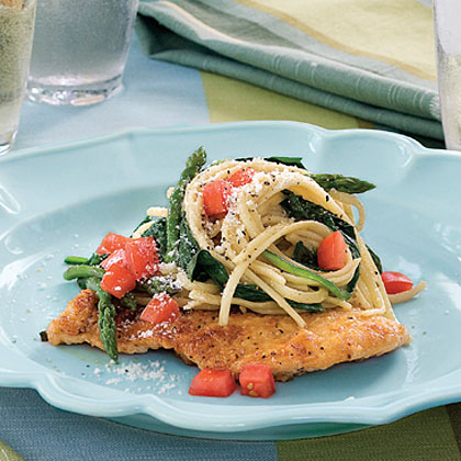 Chicken Scaloppine With Spinach and Linguine