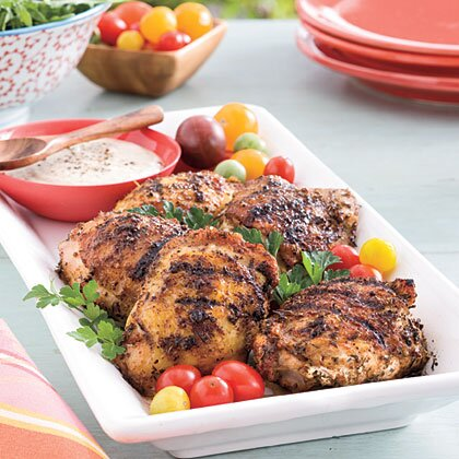 Grilled Chicken Thighs With White Barbecue Sauce Recipe Myrecipes