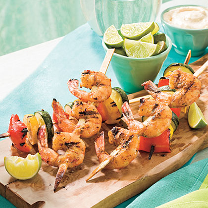 Spicy Glazed Shrimp and Vegetable Kabobs