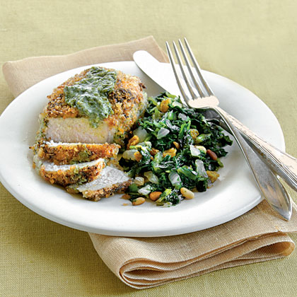 Pesto-Crusted Pork Chops with Sweet-and-Sour Collards